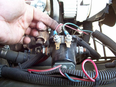 check the starter solenoid's wire